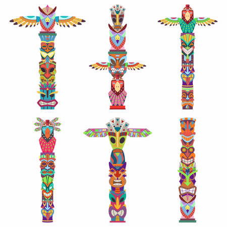 Traditional totem pole with tiki mask and eagle. Vector cartoon flat icons set isolated on white background. Illustration