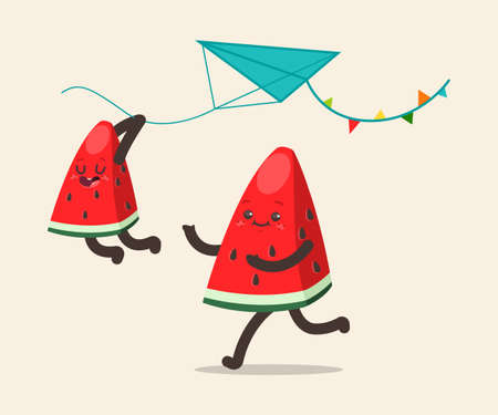 Watermelons fly a kite. Father and son fruit spend together rest. Vector cartoon funny characters isolated on background.