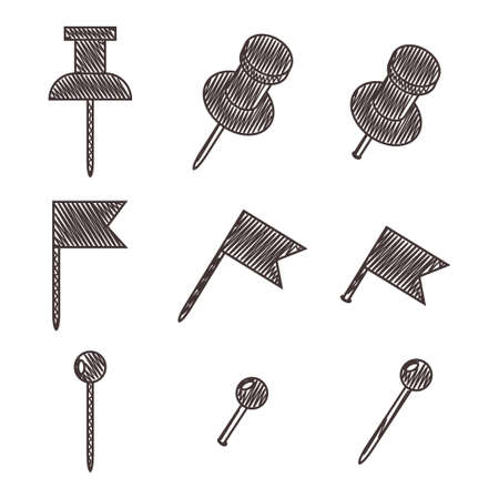 Push pin for map. Vector sketch set of office thumbtacks isolated on a white background. Vectores
