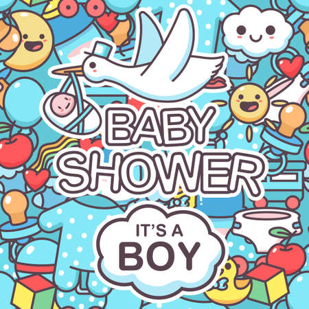 It's a boy vector seamless pattern with doodle elements. Baby shower cartoon background.