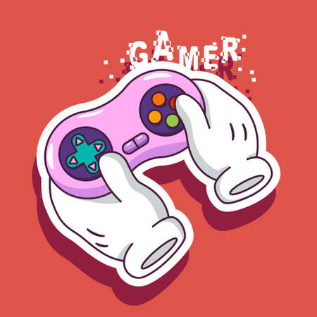 Gamer logo vector illustration with joystick in cartoon hands.