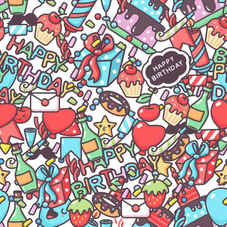 Happy birthday vector seamless pattern with cartoon doodle elements. Background for wallpaper, wrapping, packing and backdrop.