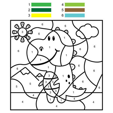 Coloring by numbers with cute dinosaur. Vector cartoon illustration for kids. Vectores