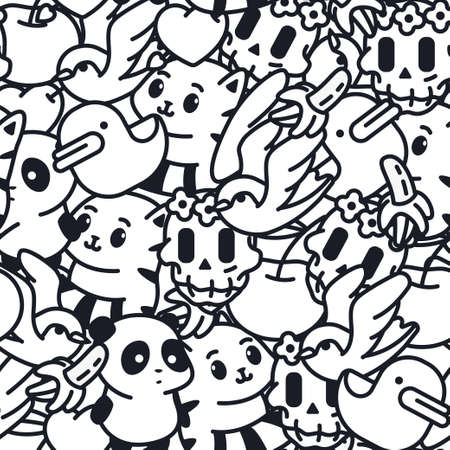 Doodle vector seamless pattern with duck, banana, cat, panda, sugar skull and swallow. Background for wallpaper, wrapping, packing and backdrop.