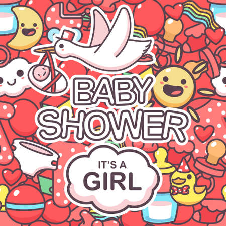 It's a girl vector seamless pattern with doodle elements. Baby shower cartoon background. Illustration