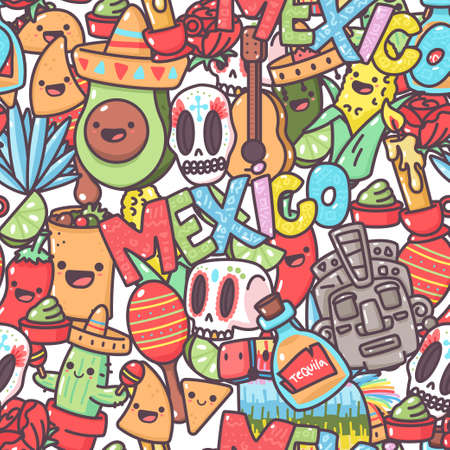 Mexican vector seamless pattern with cartoon doodle elements. Background for wallpaper, wrapping, packing and backdrop.