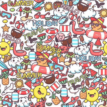 Summer vector seamless pattern with cartoon doodle elements. Background for wallpaper, wrapping, packing and backdrop.
