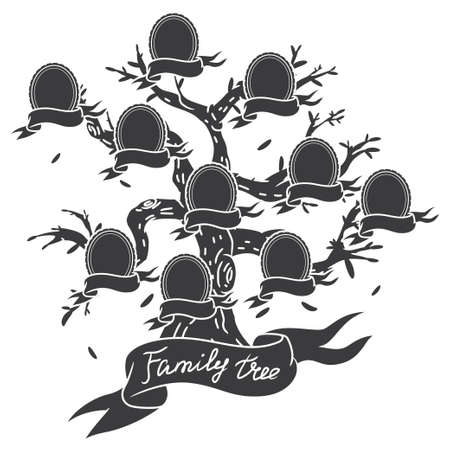 Family tree black silhouette vector template isolated on a white background.