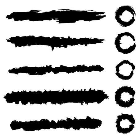 Grunge brush strokes vector set isolated on white background.