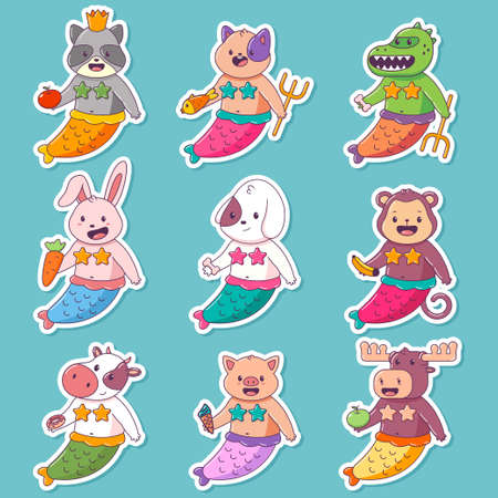 Cute mermaid child animal vector cartoon character set isolated on a white background.