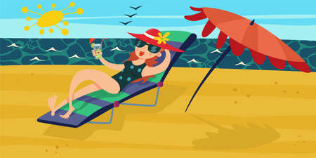 Summer beach. Vacation at the sea. Girl with cocktail in her hand, which relax on a deckchair wiht a sun umbrella. Vector cartoon illustration.