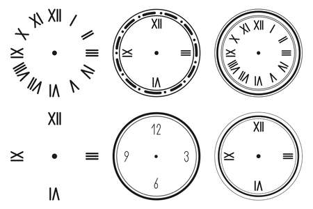Clock face vector silhouette set isolated on a white background.