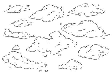 Cloud hand drawn doodle sketch vector set isolated on a white background.