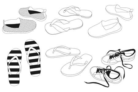 Men's and women's summer shoes vector outline icons set isolated on a white background.