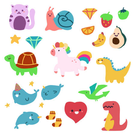 Cute children's drawings animal and fruit vector cartoon simple set isolated on white background.