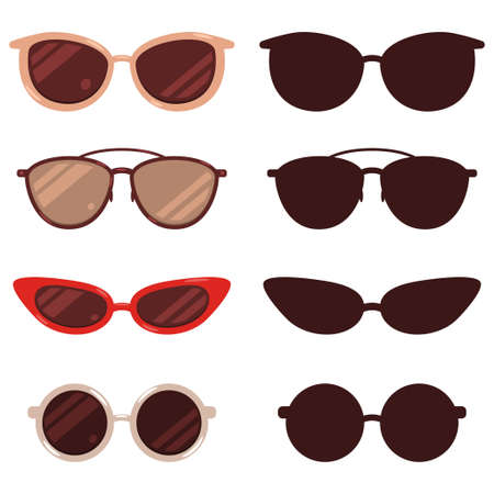 Sunglasses vector cartoon and silhouette set isolated on white background.