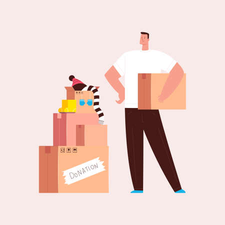 Donation and charity illustration. Man volunteer with box vector cartoon character isolated on background.