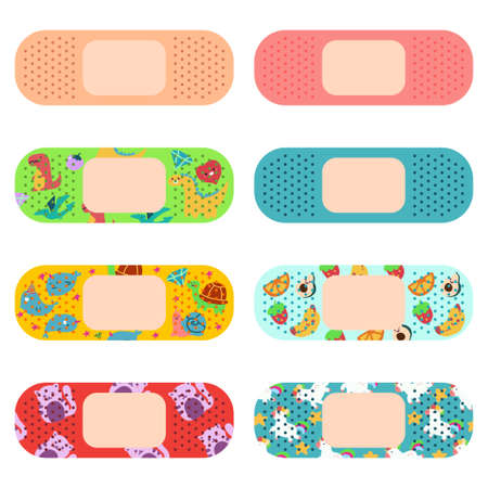 Medical adhesive plaster for adults and kids vector cartoon set isolated on a white background. Illustration