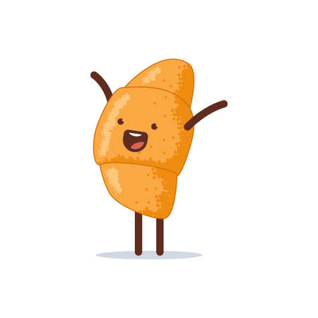 Cute and happy croissant vector cartoon character isolated on a white background.