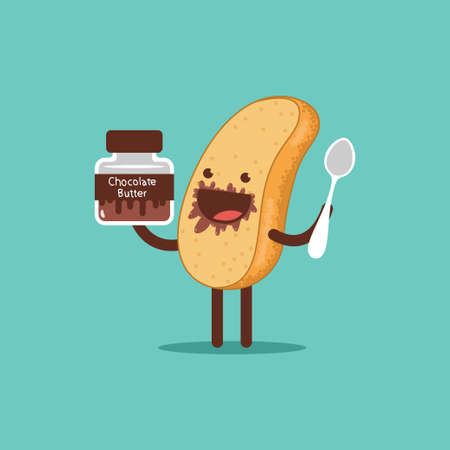 Cute toast with chocolate butter and spoon. Funny bread vector cartoon character isolated on a white background.