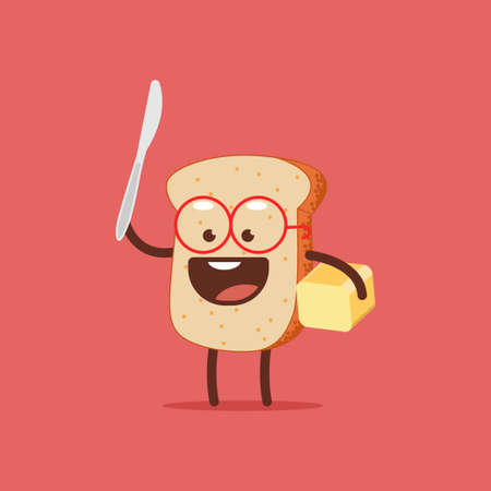 Cute toast with butter and knife. Funny bread vector cartoon character isolated on a white background. Vectores