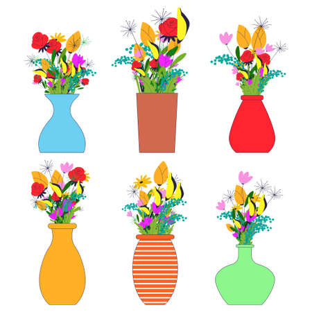 Flowers bouquets in vases vector flat set isolated on a white background.