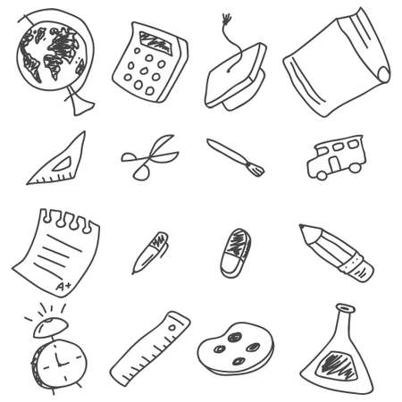 School doodle element set isolated on a white background.