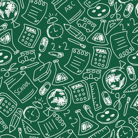 School vector seamless pattern with doodle element on chalkboard. Background for wallpaper, wrapping, packing and backdrop. Illustration