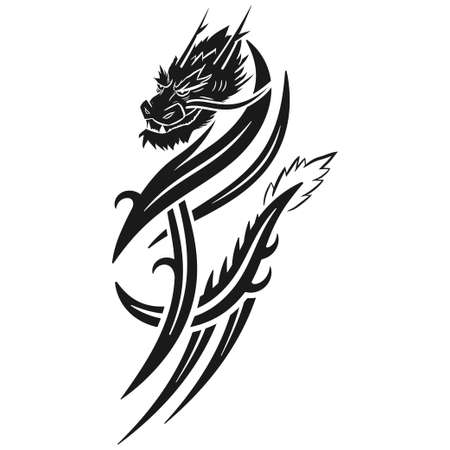 Dragon tribal tattoo vector illustration isolated on a white background.