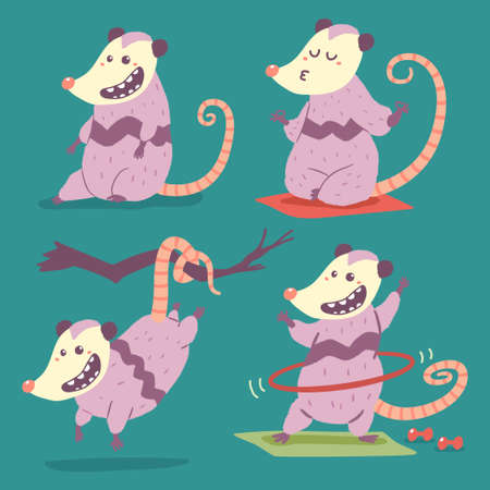 Possum vector cartoon character set isolated on background. Иллюстрация