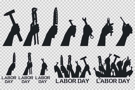 Labor day. Hand holding tools vector black silhouettes icons set isolated on a transparent background.