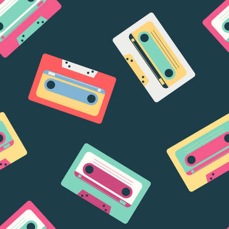 Retro music cassette vector pattern on background for wallpaper, wrapping, packing, and backdrop.