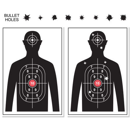 Shooting targets and bullet holes vector cartoon set isolated on white background. Illustration