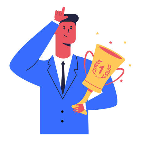 Businessman with winner cup shows loser sign. Vector cartoon character isolated on a white background. Illustration