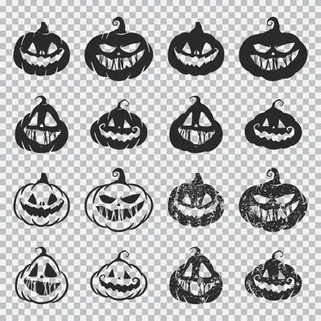Halloween pumpkin faces vector black silhouette set isolated on a transparent background. Иллюстрация