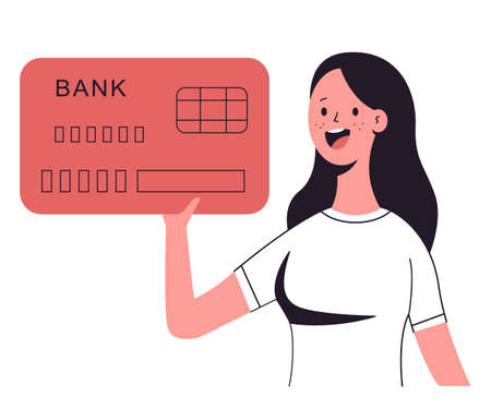 Woman holding credit card vector cartoon character isolated on a white background.