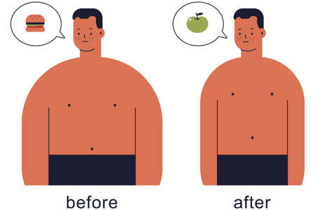 Cute man before and after lose weight vector cartoon illustration isolated on a white background.