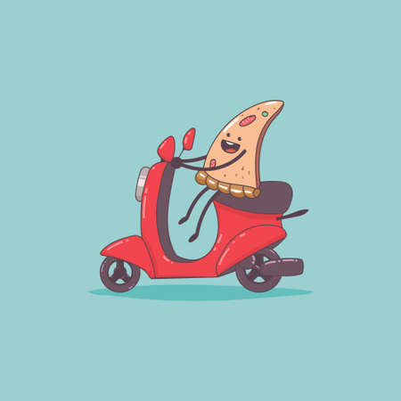 Pizza delivery. Cute food courier character on the moped. Vector cartoon cute illustration isolated on background.