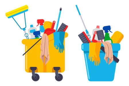 Cleaning supplies and equipments in bucket vector cartoon set isolated on a white background. Иллюстрация