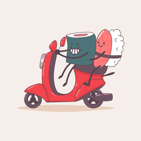 Sushi delivery. Cute food courier character on the moped. Vector cartoon illustration isolated on background. Иллюстрация