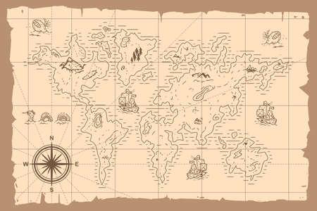 Vintage world map vector cartoon hand drawn illustration.