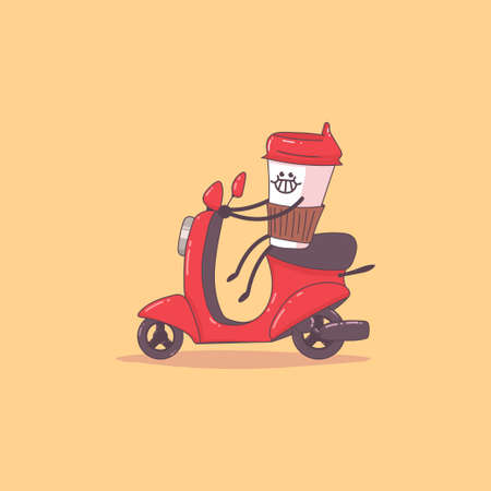 Coffee delivery. Cute courier character on the moped. Vector cartoon illustration isolated on background.