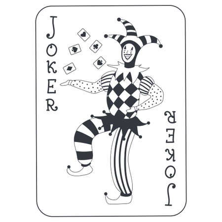 Joker poker card vector cartoon illustration isolated on white background. Иллюстрация