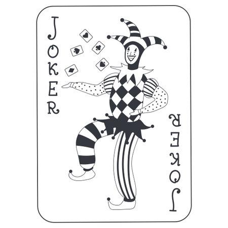 Joker poker card vector cartoon illustration isolated on white background. Illustration