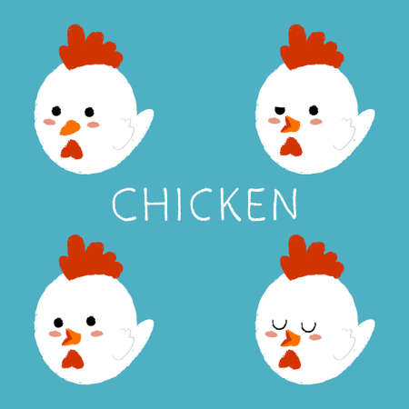 Cute chicken with different emotions vector cartoon set isolated on background.