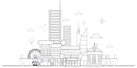 Outline city landscape vector illustration isolated on a white background. Иллюстрация