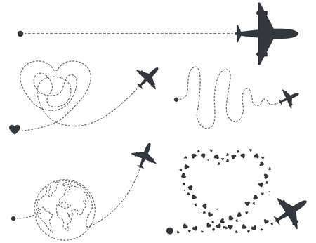 Airplane with start point and different dash line route vector silhouettes set isolated on a white background.