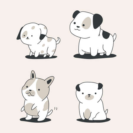 Cute outline dogs vector cartoon set isolated on background.