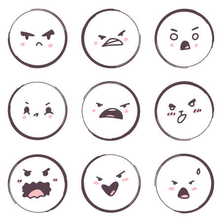 Angry cartoon face emotions vector set isolated on a white background.