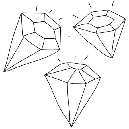 Diamond hand drawn sketch vector set isolated on a white background.